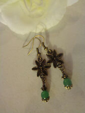 Ohrhänger bronze Vintage Blume Jadeperle grün