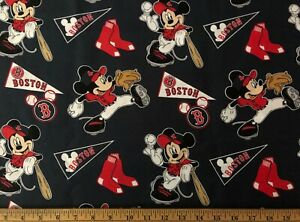NEW MLB COTTON Fabric 1/4 yard=9 inX44in BOSTON RED SOX LG MICKEY MOUSE DIY MASK