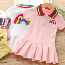 Toddler Kids Baby Girls Rainbow Princess Party Casual Pleated Dress Clothes