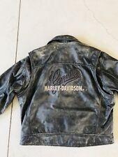 Harley Davidson Mens Distressed Grey Black Leather Jacket Moto Biker VTG X-Large