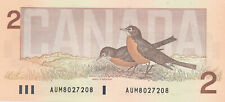 BANK OF CANADA 2 DOLLARS 1986 AUM 8027208 RADAR NOTE - UNC