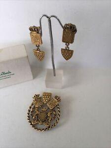 Vintage Coat Of Arms Brooch Matching Screwback Earrings