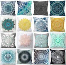 "Cushion Cover Mandala Blue Gray Home Decor Yellow Black Pink PILLOW CASE 18x18"""