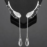 L/P Engelflügel Ohrringe Strass Kristall Engel Flügel Ohrhänger Ohrstecker
