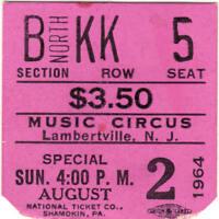 PETE SEEGER Concert Ticket Stub LAMBERTVILLE NJ 8/2/64 MUSIC CIRCUS FOLK Rare