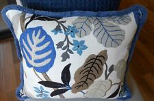 ONE only NEW MODERN FLORAL Cushion Cover & fringe trim STONE & BLUE 45cm square