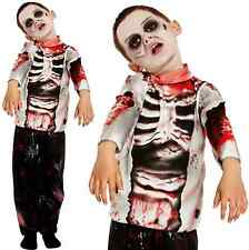 Boys Zombie Costume Kids Halloween Fancy Dress Party Childrens Skeleton 7-9 260