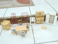 Dolls House Miniature Kitchen Furniture Table stove curio cabinets fridge lot