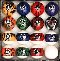 Dark Marble Swirl Design Pool Ball Complete Set Billiard Table Accessories Cue