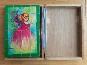 6 sided wood block puzzle original box Christmas nativity Santa Riendeer angel+