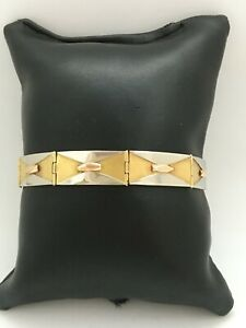 Bracelet ancien Art-déco poinçon OR 18K 3 couleurs TBE