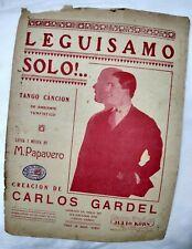 Carlos Gardel Cover Leguisamo Solo Tango Original Sheet Music Argentina 1940s