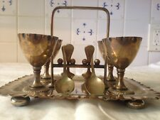 Antique Silver Plated Egg Cup Set With Spoons