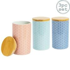 Tea Coffee Sugar Canisters Kitchen Storage Canister - Set of 3 Designs