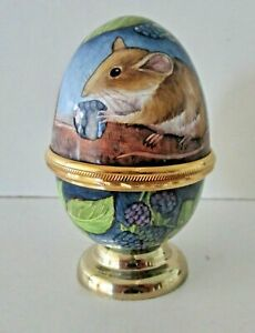 MOORCROFT ENAMEL ~ EGG SHAPED TRINKET BOX DECORATED WITH MICE AND BLACKBERRIES