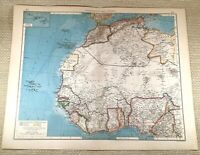 1906 Antique Map of North West Africa Senegal Nigeria LARGE GERMAN Lithograph