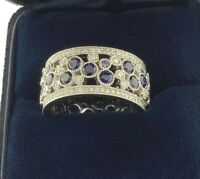 1.99Ct Round Brilliant Cut Sapphire Eternity Ring 14K Solid White Gold Finish