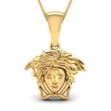 14K Yellow Gold Over Medusa head Symbol Pendant in 925 Sterling Silver