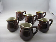 Pitchers Brown Ware Pottery Vintage Individual Mini Cream Set of 6 Holds 1/3 cup
