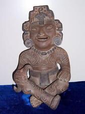 VINTAGE PRE COLUMBIAN STYLE TERRA COTTA SITTING TRIBAL MAYA FIGURE AZTEC MEXICO