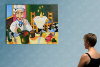 """39"""" - THE CHEF   _____  ORIGINAL cubist painting oil on canvas by ANNA !!!"""