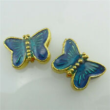 (98557-4X) Gold Alloy Cloisonne Enamel Blue Butterfly 9mm Spacer Beads 2mm Loose