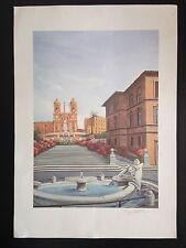 Fine European Architecture City Art Print SIGNED Fountain Lion NICE Colorful NR
