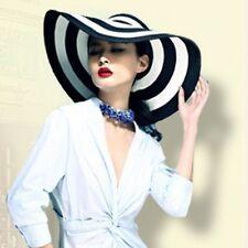 Vintage Women Summer Sun Beach Floppy Derby Stripe Straw Hat Wide Large Brim UK
