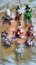 Alice in Wonderland Christmas Ornament Christopher Radko Set of 7 Italian Glass