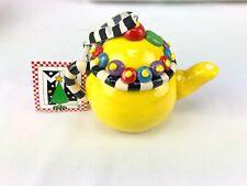 "Mary Engelbreit Miniature 3"" TeaPot Christmas Ornament Yellow"