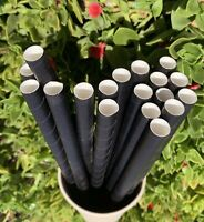 """Disposable Paper Straws Black For Party Supplier Colossal 12mm 10"""" - 500 pcs"""