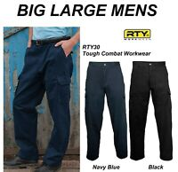 BIG LARGE Mens cargo combat trousers BLACK Blue RTY RTY030 RTY30 workwear work