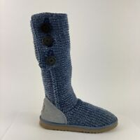 UGG Classic Cardy Women's Size 9 Blue Knit Pull Up Walking Comfort Shoes Boots