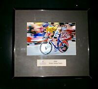 "Lance Armstrong Signed Photo,  8""x 9""Framed 2004 Green Jersey Team"