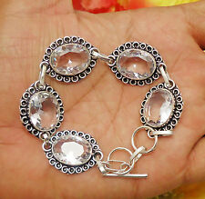 "OVAL SHAPE CRYSTAL QUARTZ GEMSTONE 8"" BRACELET SILVER OVERLAY! JEWELRY"