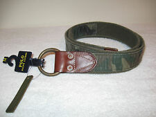 Polo Ralph Lauren Rugby Olive Camo Distressed Fabric Belt Size Medium MSRP $75