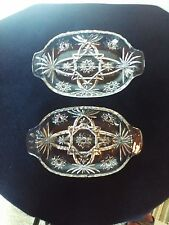 """Pair of 9 3/4"""" Vintage Oval Cut Glass Divided Dishes"""