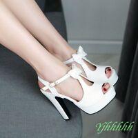 Sweet Bowkont T-strap Peep Toe chunky high heel ladies sandal shoes UK2-8SZ Hot