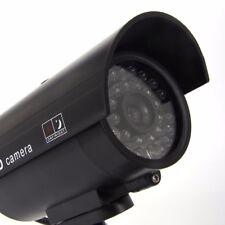 IR Bullet Fake Dummy Surveillance Security Camera CCTV & Activation Light Black