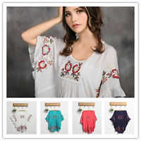 New Women Peasant Ethnic Floral Boho Top Tunic Mexican Gypsy Maternity Dress