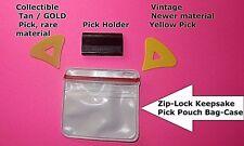 McPherson Guitar Pick Tan/Gold pre-1980's Vintage COLLECTIBLE Patented Picks 2