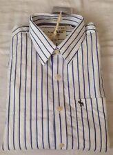 Abercrombie And Fitch Azul Rayas Clásico Tejido Camisa XXL