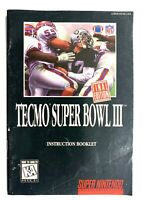 Tecmo Super Bowl III Final Edition 3 SNES Super Nintendo Instruction Manual Only