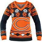 Klew Chicago Bears NFL Women's Big Logo V-Neck Ugly Christmas Sweater Small NWT