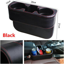 1Pcs Black PU Leather Car Seat Seam Dual Cup Drink Bottle Storage Organizer