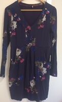 Joules Navy and Pink Florals Long Sleeved Stretch Dress Front Pockets UK14