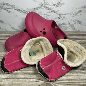 Crocs Blitzen II Backless Clogs w/ Removable Liner Pink Youth Size J1
