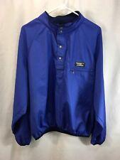 VTG LL Bean Windbreaker Anorak Pullover Jacket Mens Blue T-Snap Half Button