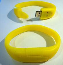 4GB WRIST BAND Bracelet USB 2.0 Memory Stick - YELLOW - FREE 1st CLASS DELIVERY