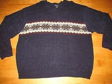 UGLY TACKY VELOUR NAVY BLUE CHRISTMAS SNOWFLAKES SWEATER MEN'S OR WOMEN'S SZ XL